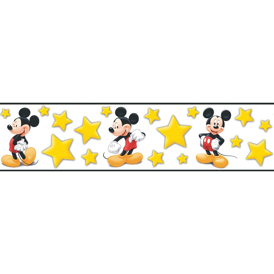 Border Design Disney Character : Shop disney quot bright yellow mickey stars prepasted