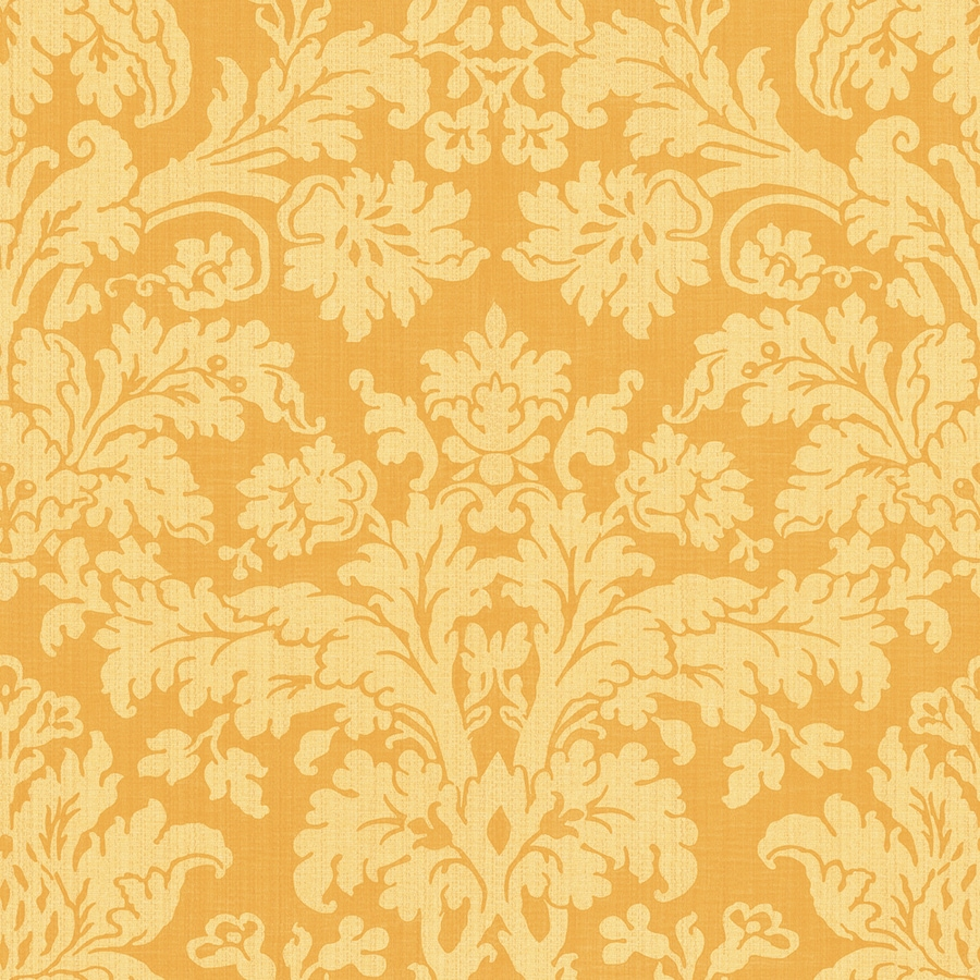 Shop allen roth yellow damask wallpaper at for Home depot bathroom wallpaper