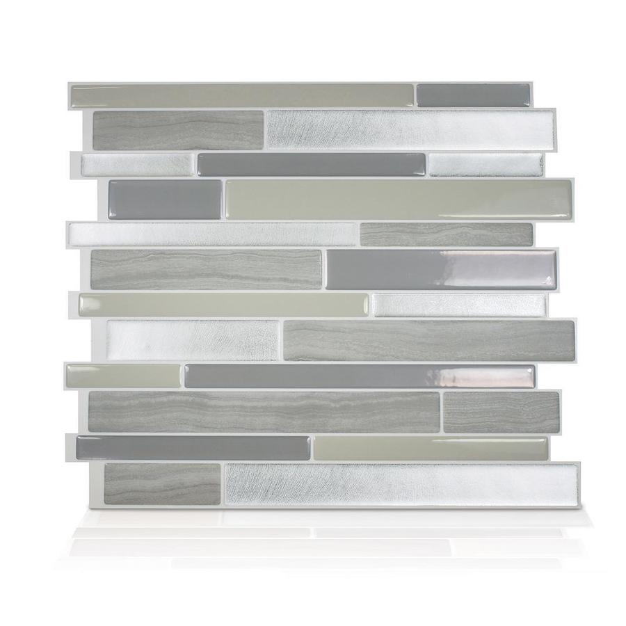 Smart Tiles 4 Pack Gray Silver Taupe 10 In X 11 Composite Vinyl Wood Look L And Stick Tile Common Actual 9 64 27