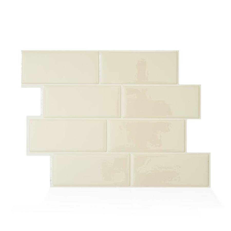 - Smart Tiles 4-Pack Beige 9-in X 10-in Polished Composite Vinyl