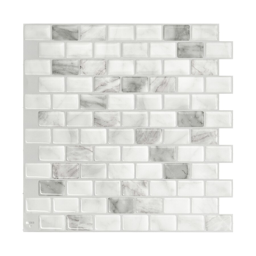 - Smart Tiles 4-Piece 10-in X 10-in White, Marble, Gray Peel And