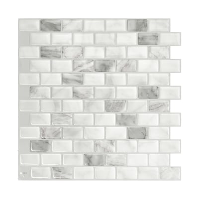 4 Pack White Marble Gray 10 In X Composite Vinyl L And Stick Tile Common Actual 9 8 74