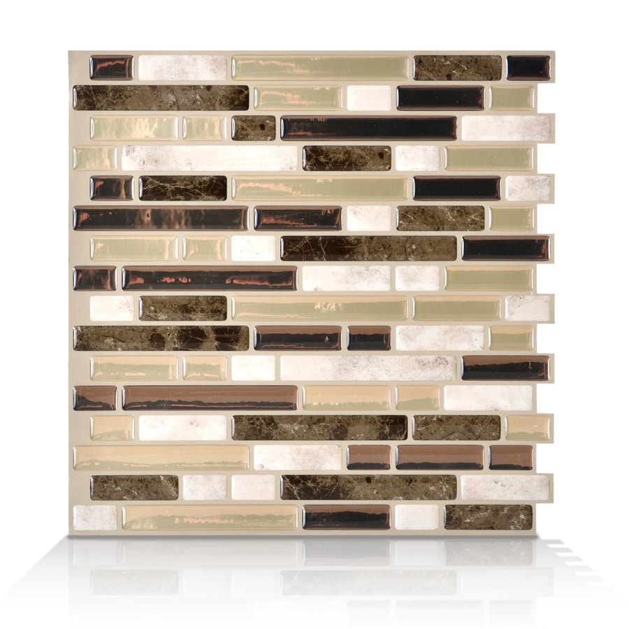 Shop smart tiles white beige brown linear mosaic for Autocollant mural walmart