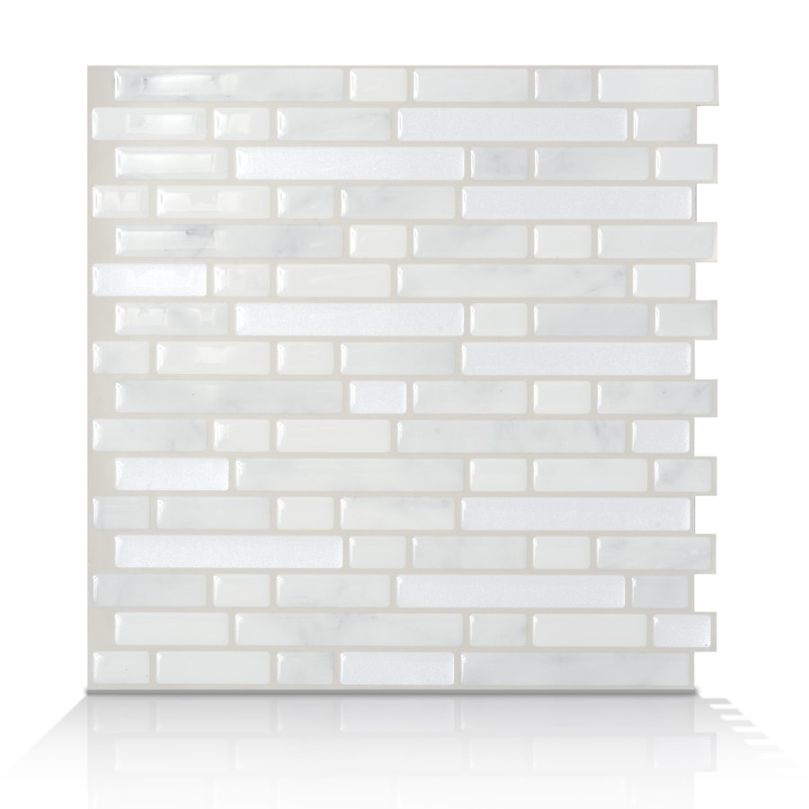 Shop smart tiles white silver composite vinyl mosaic for Vinyl peel and stick wallpaper