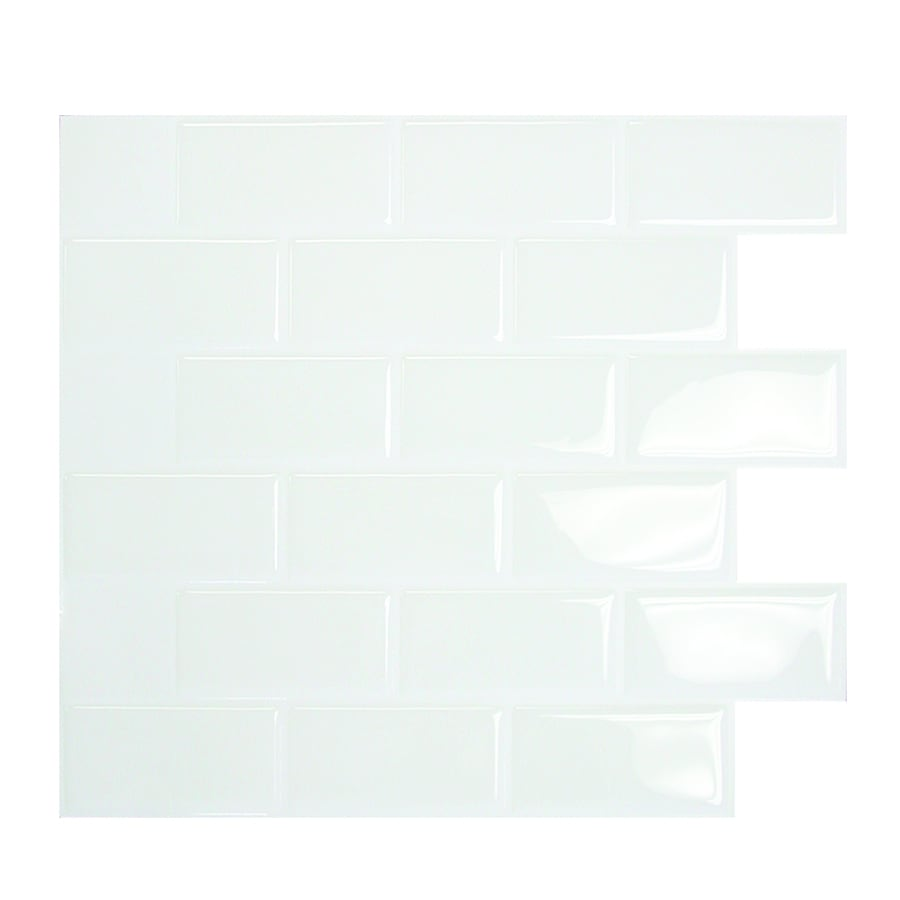 Smart Tiles 6-Pack White Mosaic Composite Vinyl Wall Tile (Common: 10-in x 10-in; Actual: 9.1-in x 10.2-in)