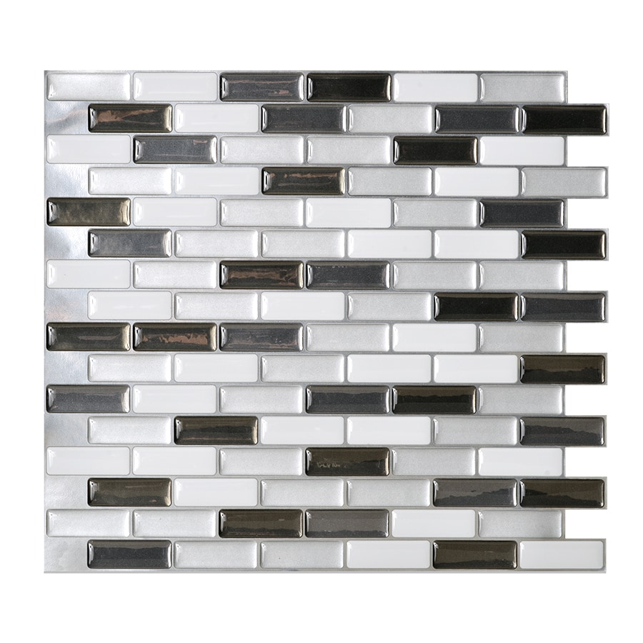 shop smart tiles 6 pack white linear mosaic composite vinyl wall tile