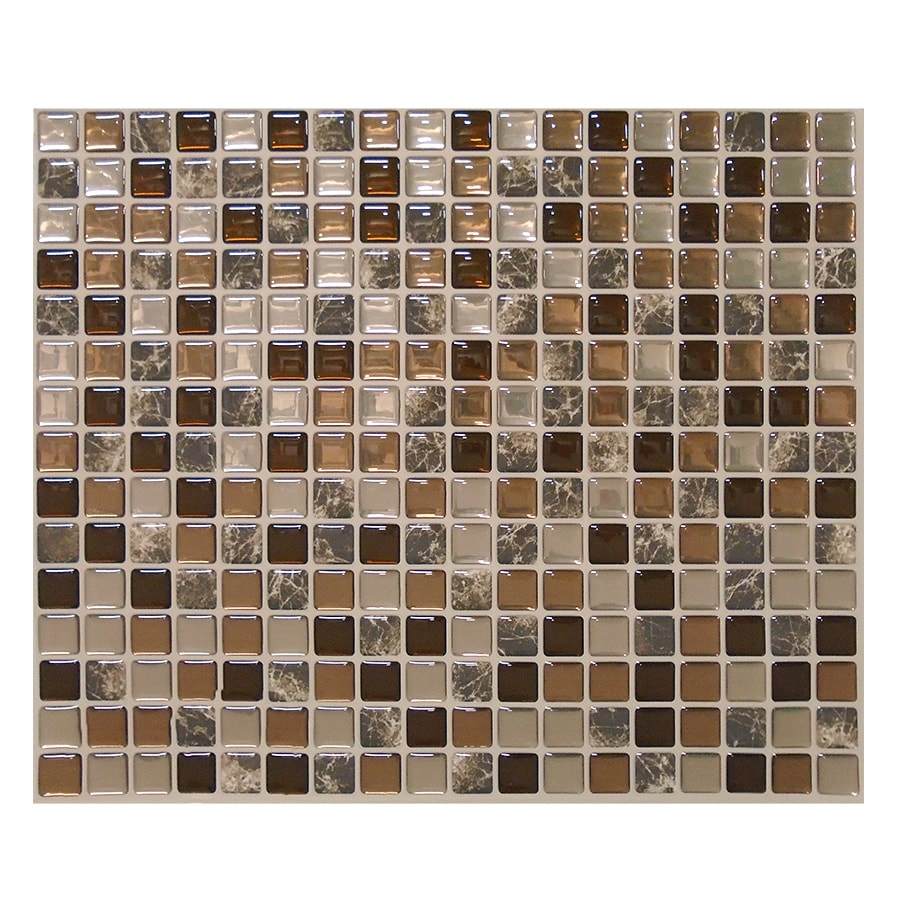 smart tiles 6 pack brown uniform squares mosaic composite. Black Bedroom Furniture Sets. Home Design Ideas