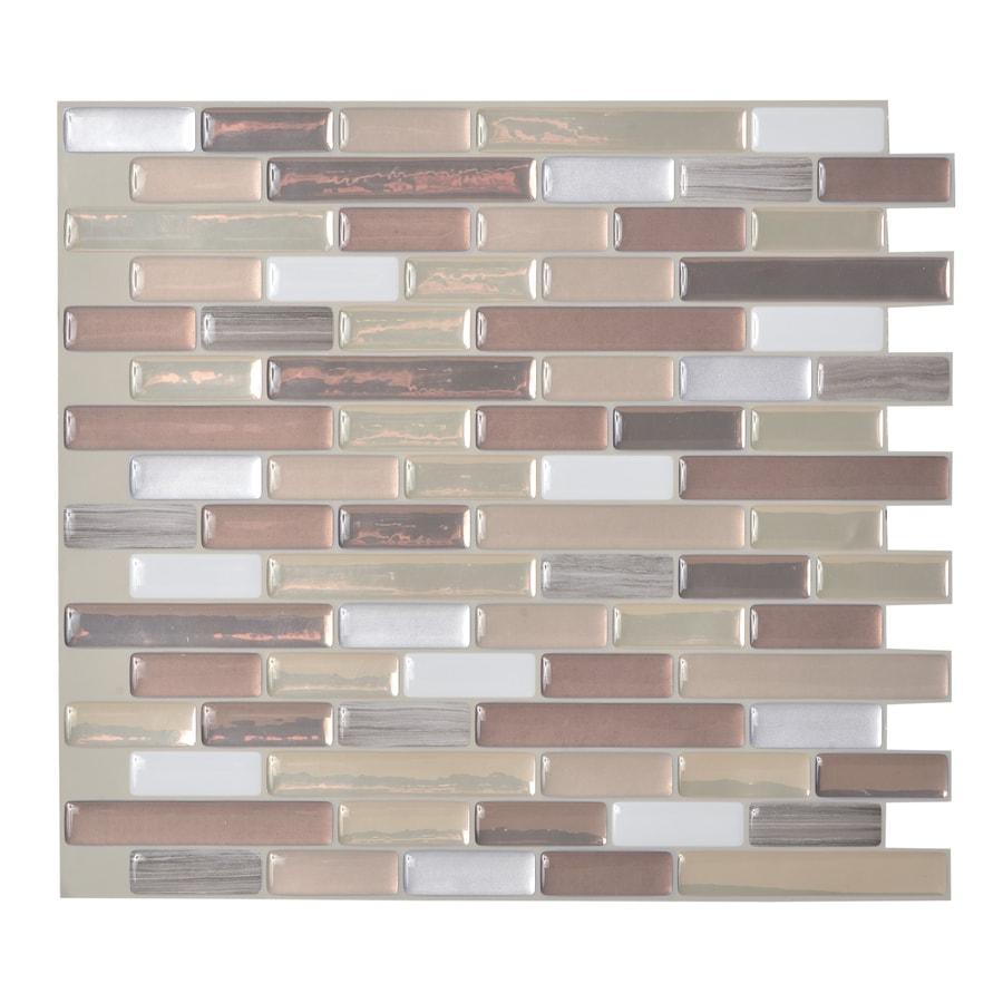 Shop Smart Tiles 6 Pack Beige Linear Mosaic Composite Vinyl Wall