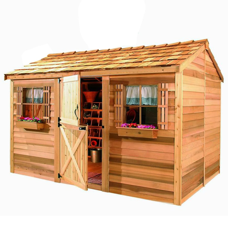 Cedarshed Cabana Gable Cedar Storage Shed (Common: 12-ft x 8-ft; Interior Dimensions: 11.62-ft x 7.33-ft)