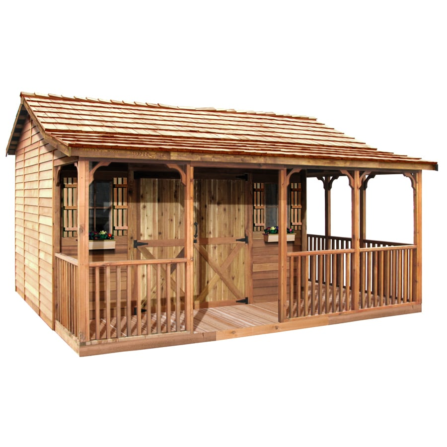 Cedarshed Farmhouse Gable Cedar Storage Shed (Common: 16-ft x 14-ft; Interior Dimensions: 11.5-ft x 9.5-ft)