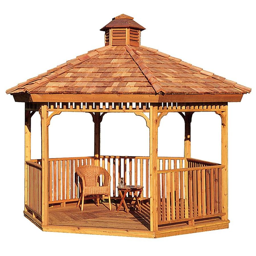 Cedarshed Cedar Hexagon Permanent Gazebo (Exterior: 11.25-ft x 11.25-ft; Foundation: 7.87-ft x 9.09-ft)
