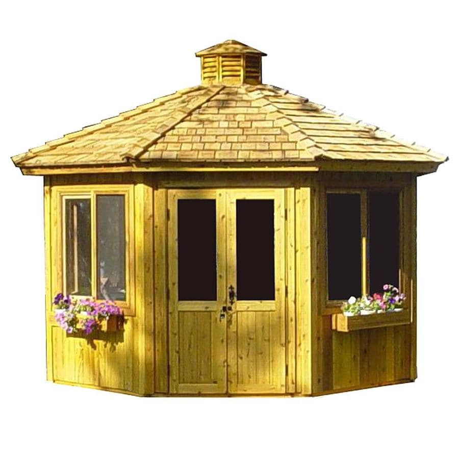 Cedarshed Cedar Hexagon Screened Gazebo (Exterior: 12.83-ft x 12.83-ft; Foundation: 9.69-ft x 11.19-ft)