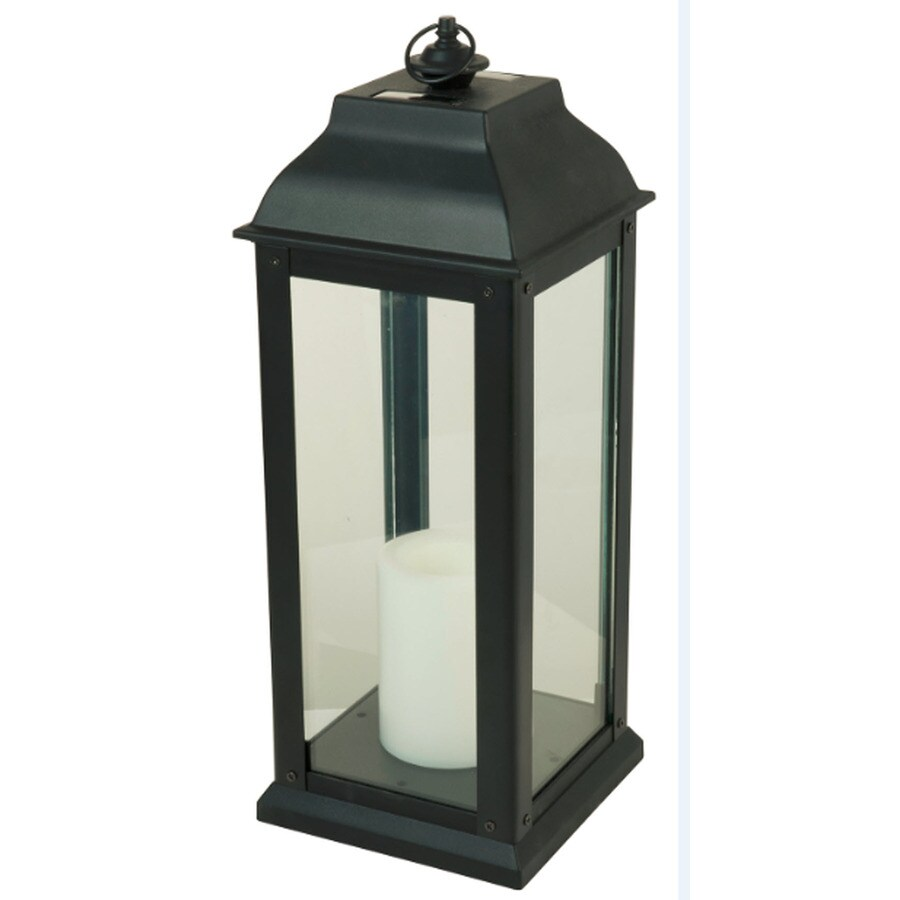 Shop x 16 in black glass solar outdoor decorative lantern at - Decorative garden lights ...