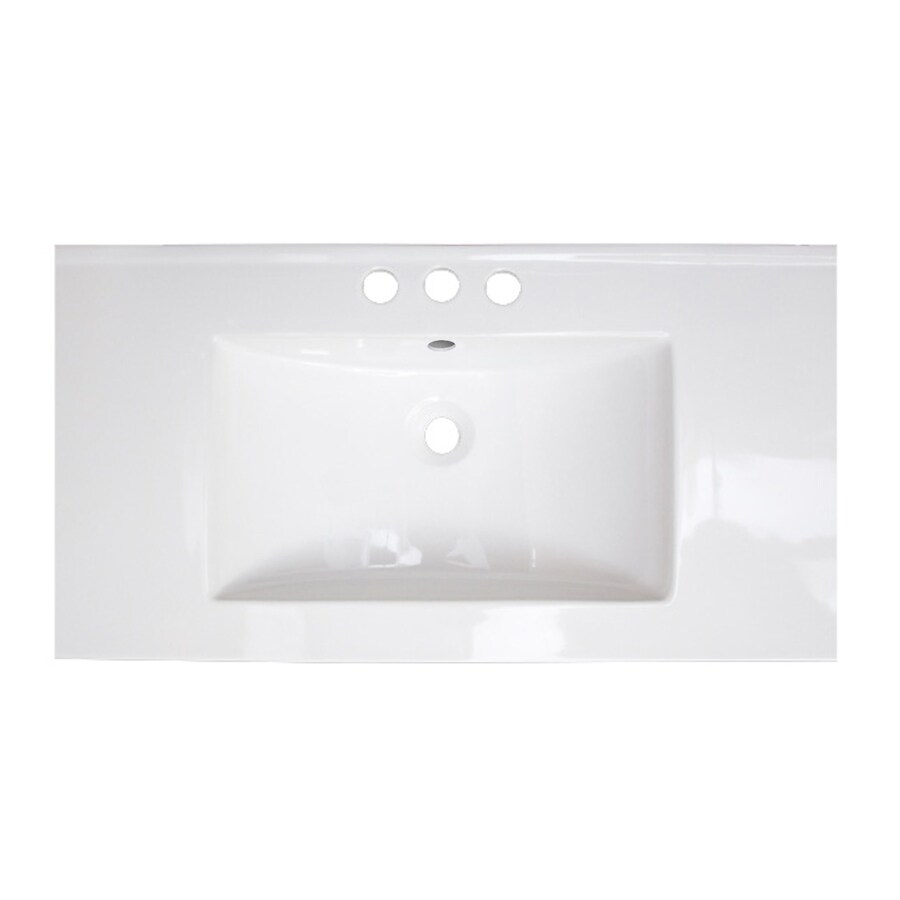 American Imaginations Flair 32 In White Fire Clay Single Sink Bathroom Vanity Top In The Bathroom Vanity Tops Department At Lowes Com