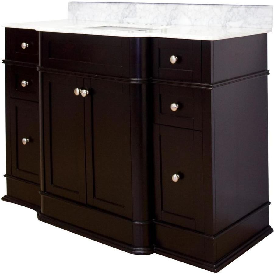 American Imaginations Granicus 50 In Dark Mahogany Lacquer Stain Single Sink Bathroom Vanity With Bianca Carara Natural Marble Top