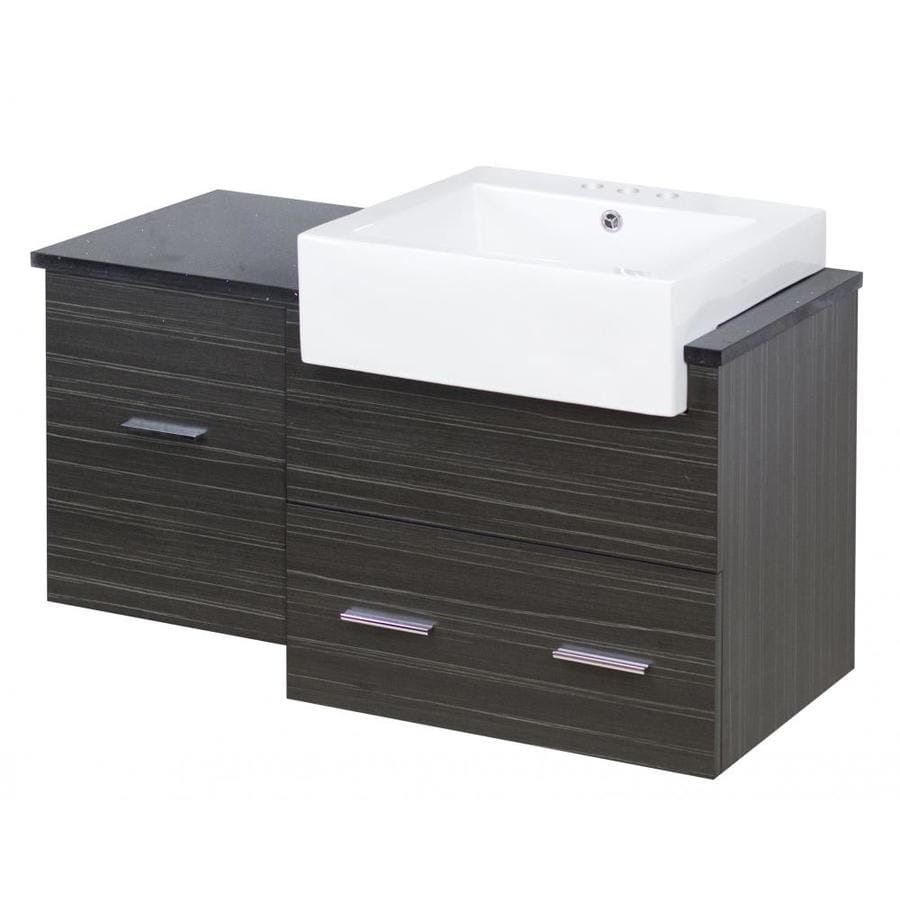 American Imaginations Xena Farmhouse 36 In Dawn Grey Drop In Single Sink Bathroom Vanity With Black Galaxy Engineered Stone Top In The Bathroom Vanities With Tops Department At Lowes Com