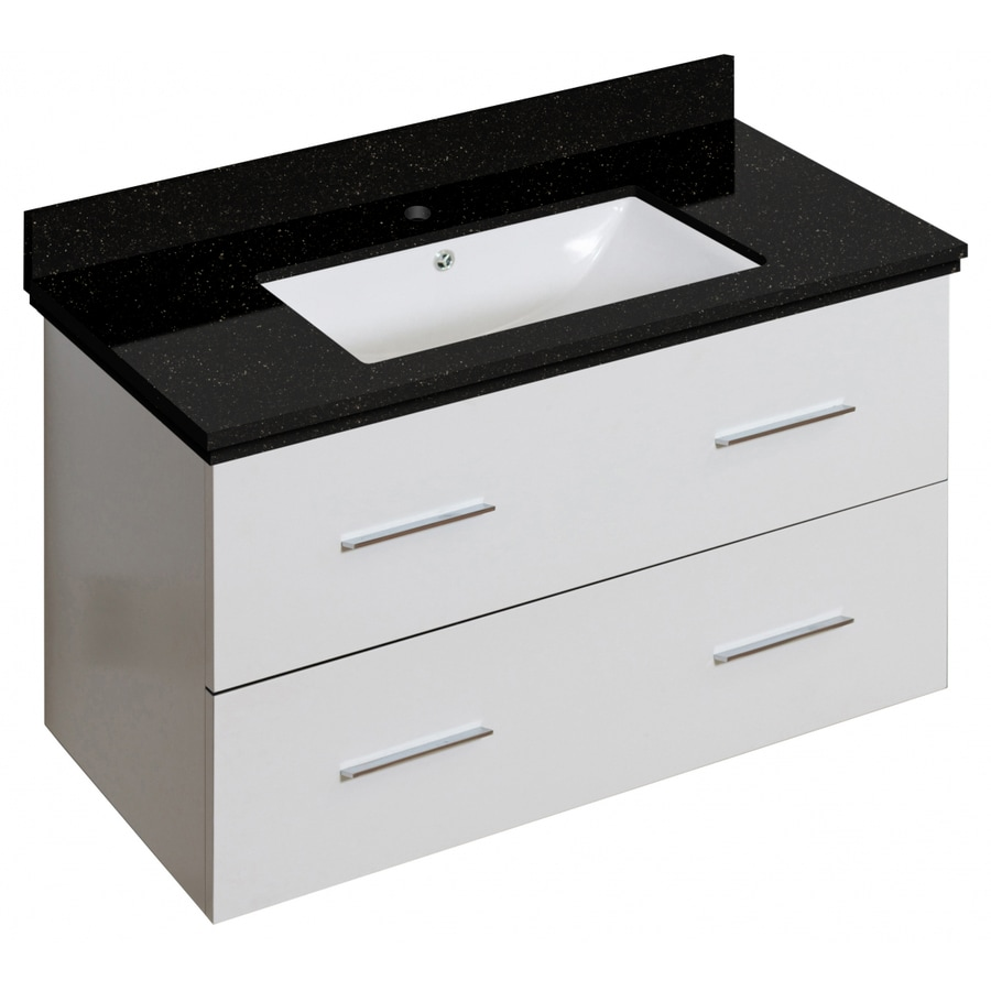 American Imaginations Xena 36 In White Single Sink Bathroom Vanity With Black Galaxy Engineered Stone Top In The Bathroom Vanities With Tops Department At Lowes Com