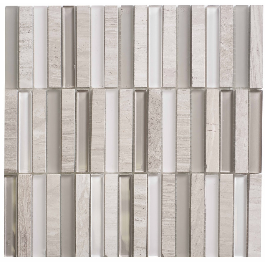 Faber Stone and Marble Mosaic Silver Grey Mosaic Stone and Glass Wall Tile (Common: 12-in x 12-in; Actual: 12-in x 12-in)