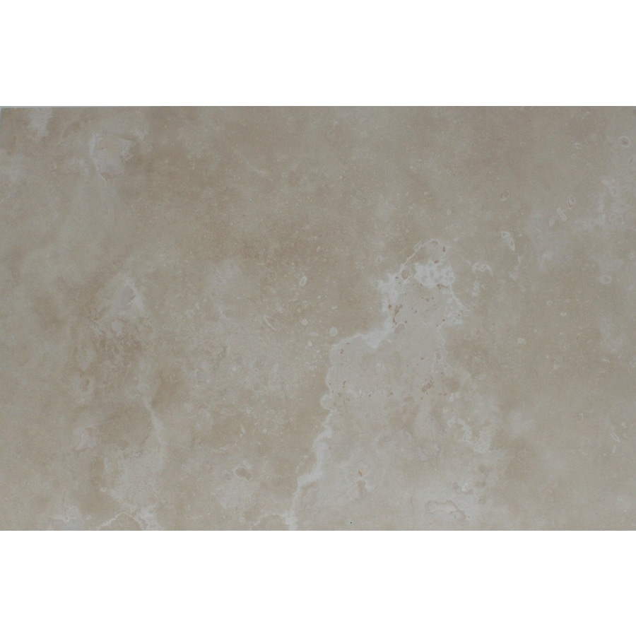 Faber Travertine Filled and Honed Ivory and Beige Travertine Floor Tile (Common: 16-in x 24-in; Actual: 16-in x 24-in)