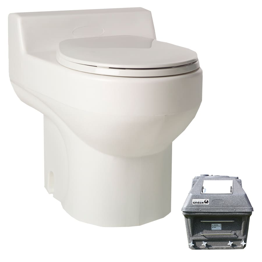 Santerra Green White 0.8-GPF (3.03-LPF) 4 Rough-In Round Composting Standard Height Toilet