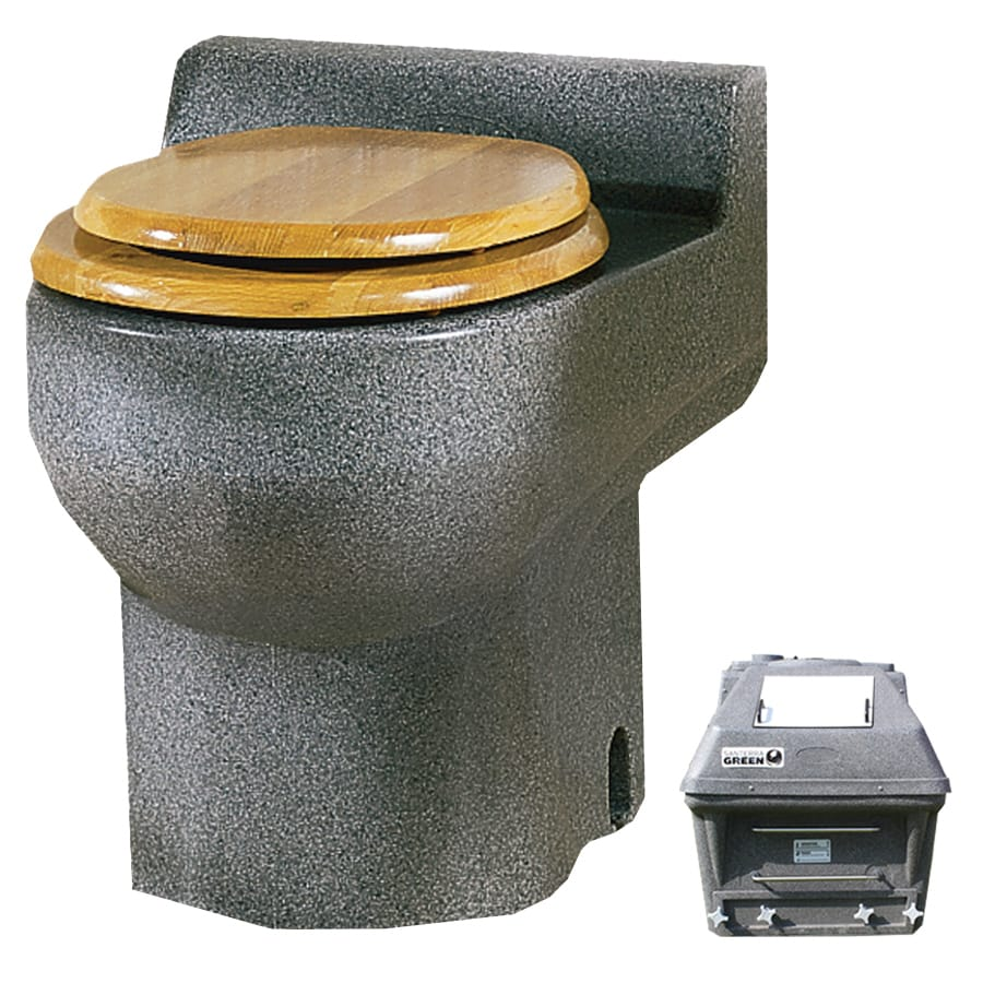 Santerra Green Grey Granite 0.8-GPF (3.03-LPF) 4 Rough-In Round Composting Standard Height Toilet