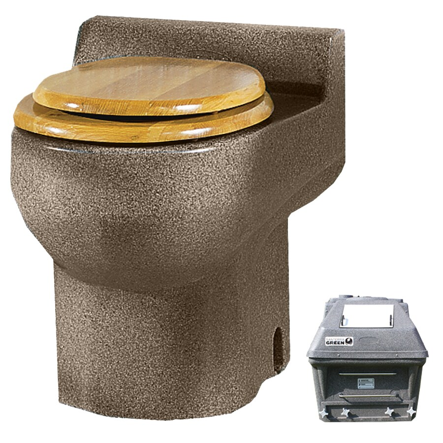 Santerra Green Sandstone Granite  Round Standard Height Composting Toilet 4-in Rough-In Size