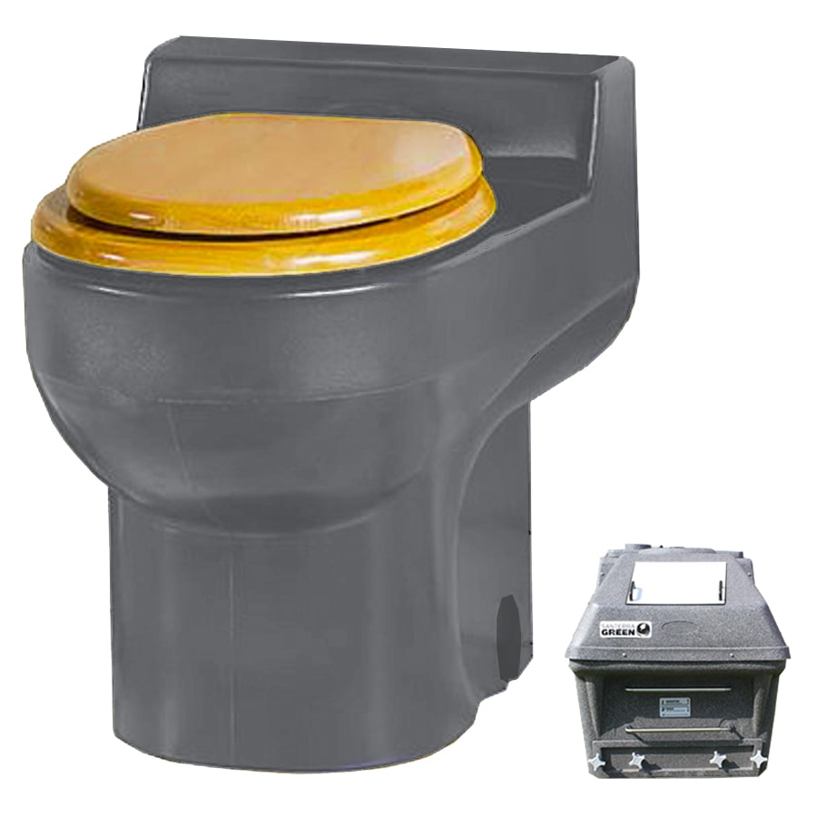 Santerra Green Grey  Round Standard Height Composting Toilet 4-in Rough-In Size