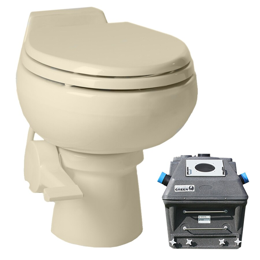 Santerra Green Bone 0.8-GPF (3.03-LPF) 4 Rough-In Round Composting Standard Height Toilet