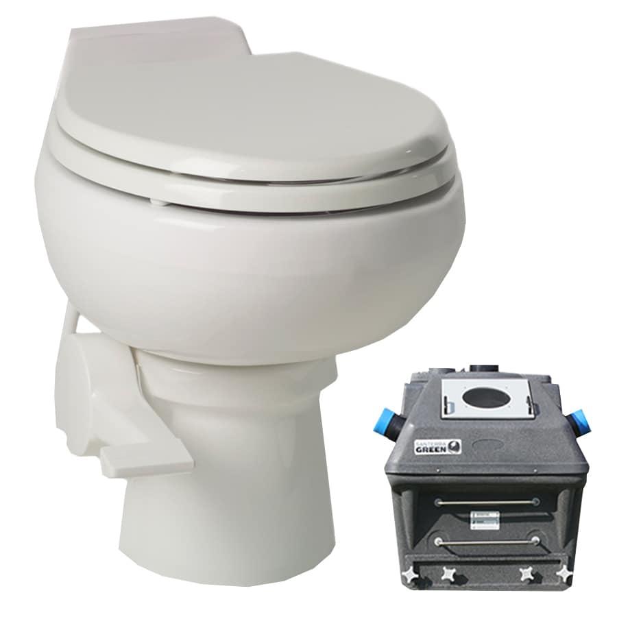 Santerra Green 0.8-GPF (3.03-LPF) White Round Composting Toilet