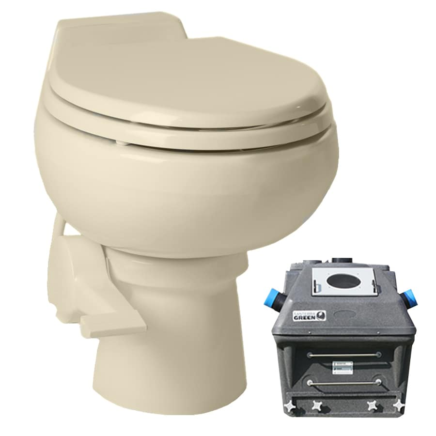 Santerra Green Bone  Round Standard Height Bidet Function Composting Toilet 4-in Rough-In Size