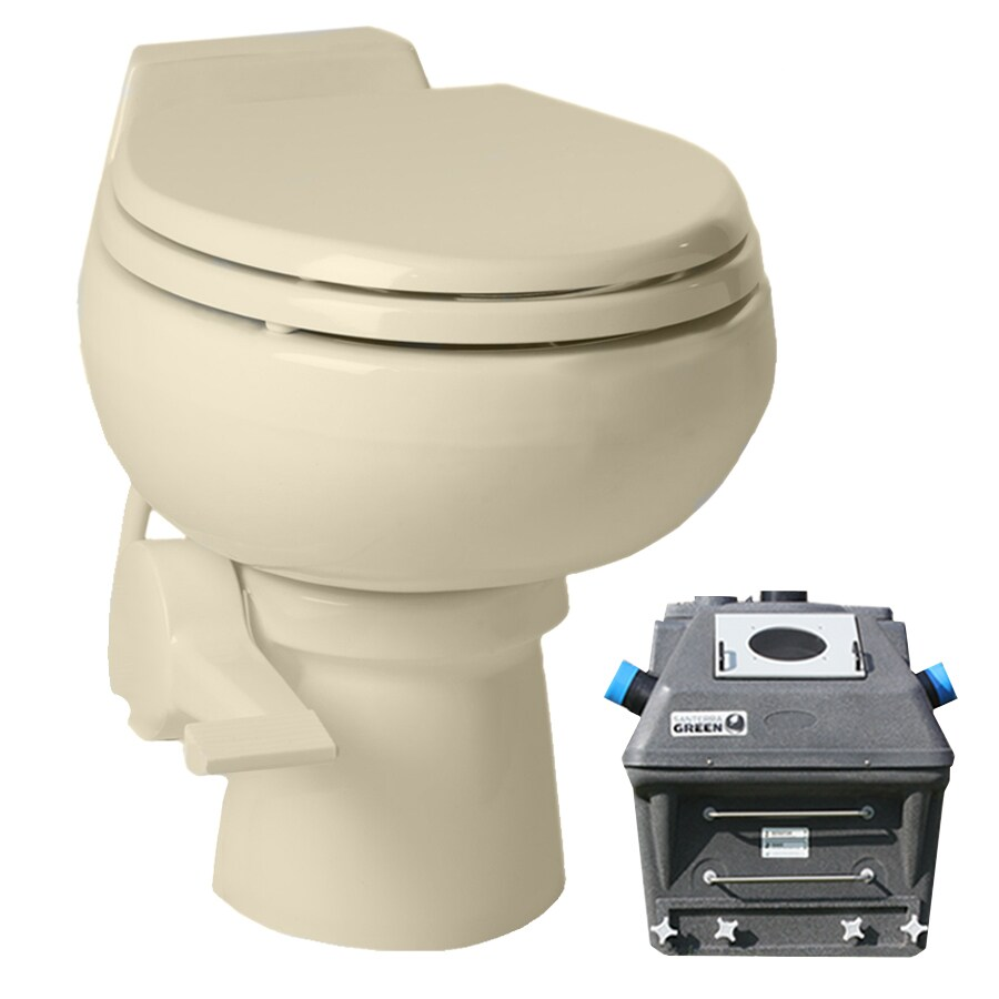 Santerra Green Bone  Round Standard Height Composting Toilet 4-in Rough-In Size