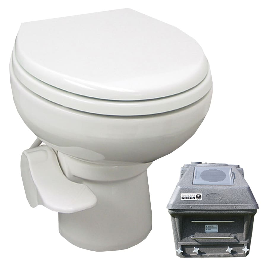 Santerra Green White 0.8-GPF (3.03-LPF) 4 Rough-In Round Pressure Assist Composting Standard Height Rear Outlet Toilet