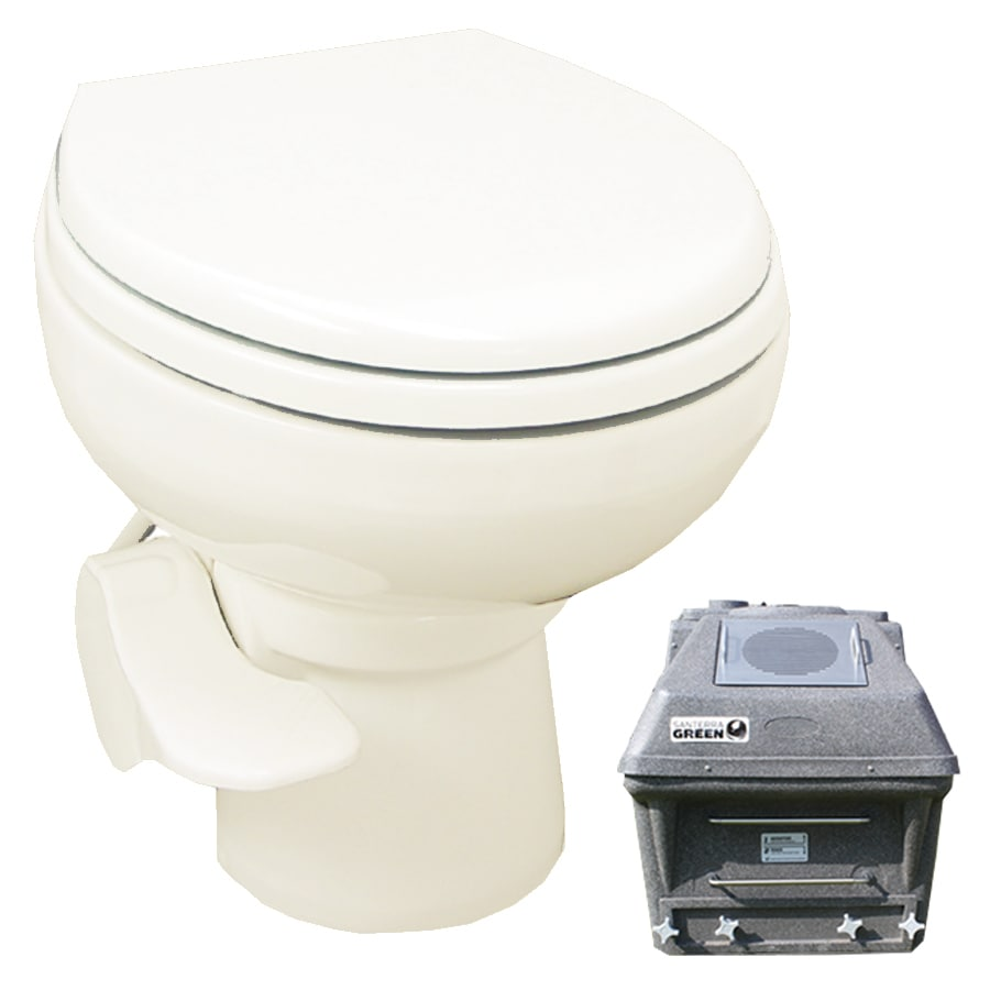 Santerra Green Bone 0.8-GPF (3.03-LPF) 4 Rough-In Round Pressure Assist Composting Standard Height Rear Outlet Toilet