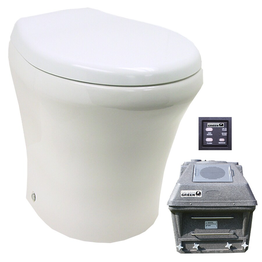 Santerra Green White  Round Standard Height Composting Toilet 4-in Rough-In Size