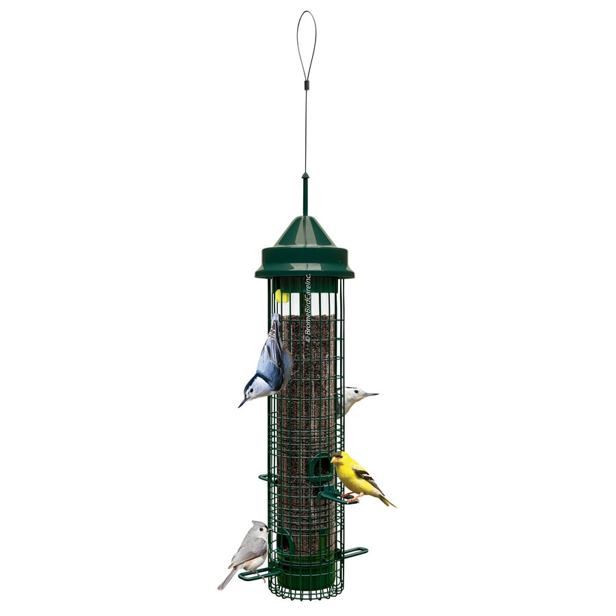 Squirrel Buster Green Metal Squirrel-Resistant Tube Bird Feeder