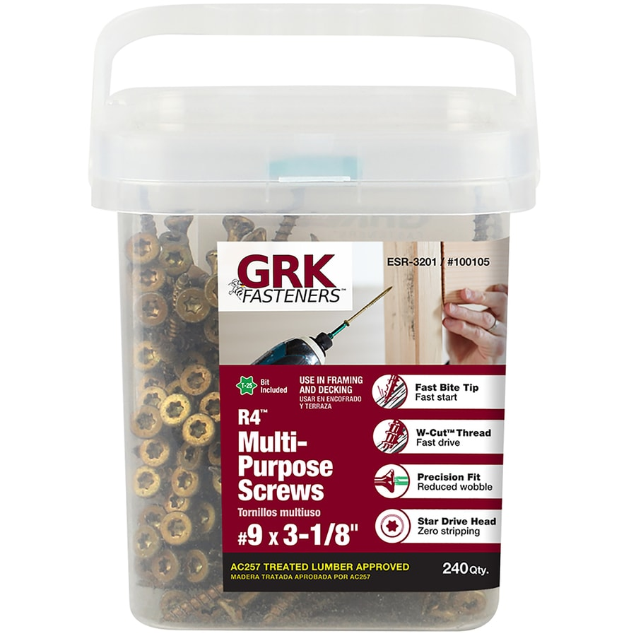 GRK 240-Count #9 x 3.125-in Countersinking-Head Coated Self-Tapping Star-Drive Interior/Exterior Wood Screw