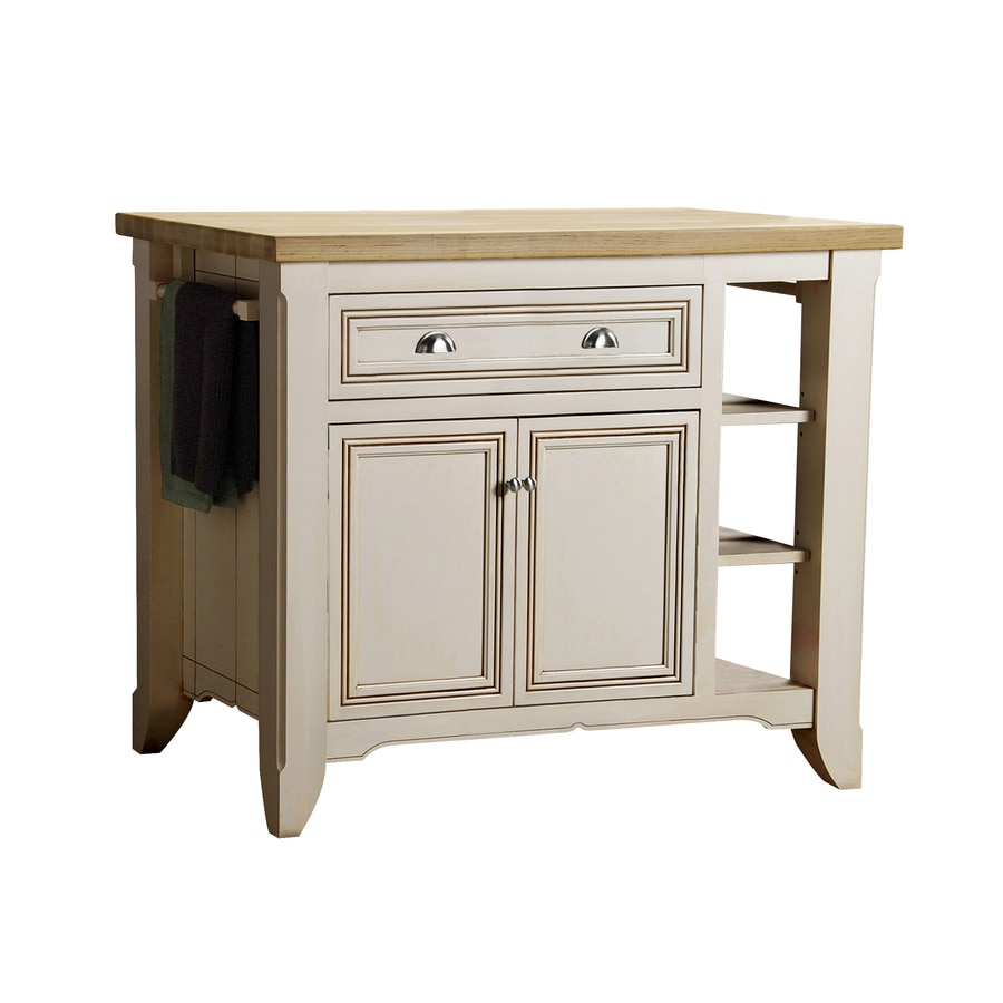Uncategorized Lowes Kitchen Island shop allen roth 42 in l x 24 w 36 h glazed white kitchen in