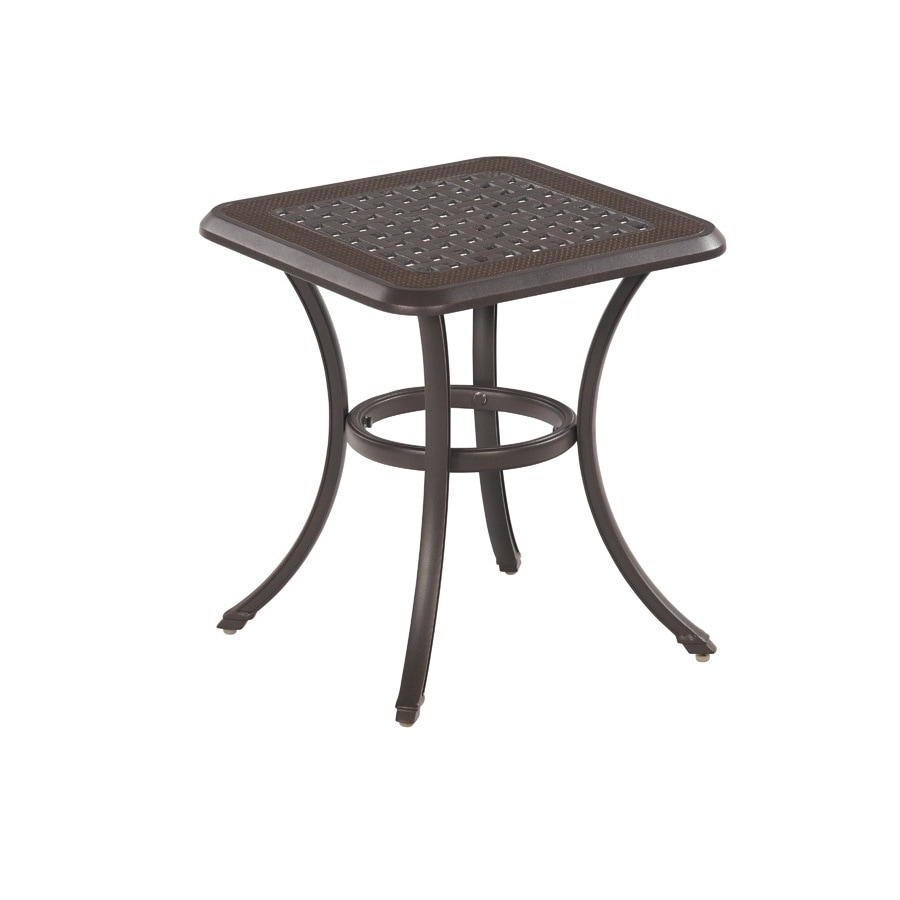 Garden Treasures Herrington 20-in x 20-in Aged Bronze Aluminum Square Patio Side Table