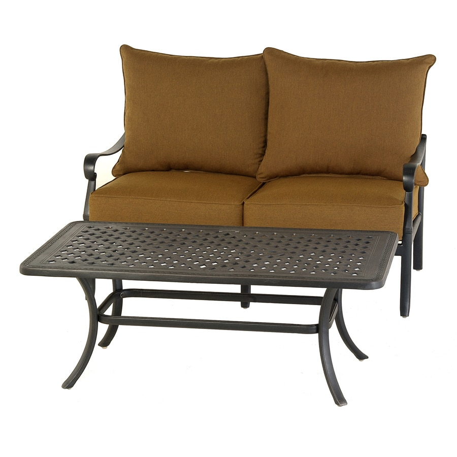 allen + roth 2-Piece Whitley Place Black Aluminum Patio Loveseat and Coffee Table Set