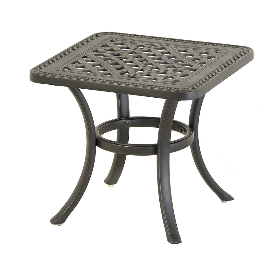 allen + roth Whitley Place 20-in x 20-in Burnished Black/Powder-Coated Extruded Aluminum Square Patio Side Table