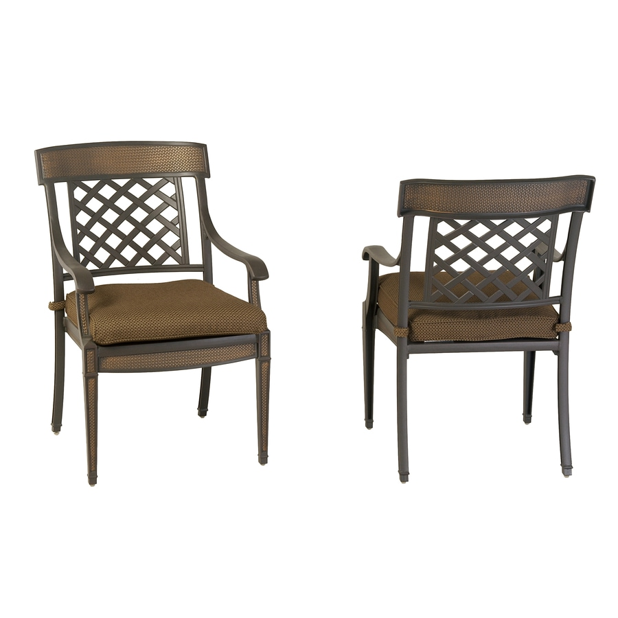 Shop Garden Treasures Set Of 2 Herrington Aluminum Patio Dining Chairs At