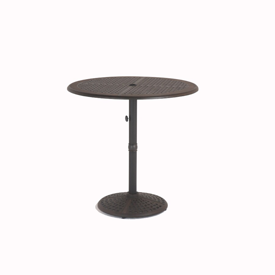 "Garden Treasures Herrington 42"" Aged Bronze Round Cast Aluminum Patio Cocktail Table"