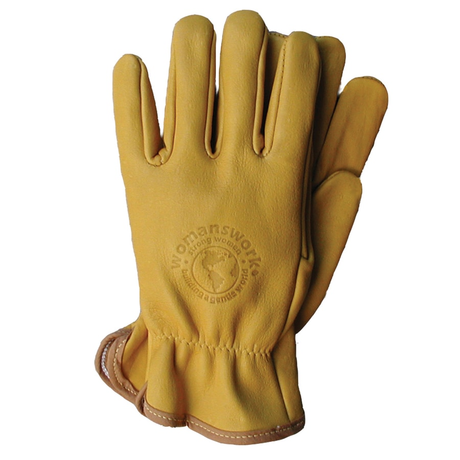 Shop womanswork large yellow ladies leather garden gloves for Gardening gloves amazon