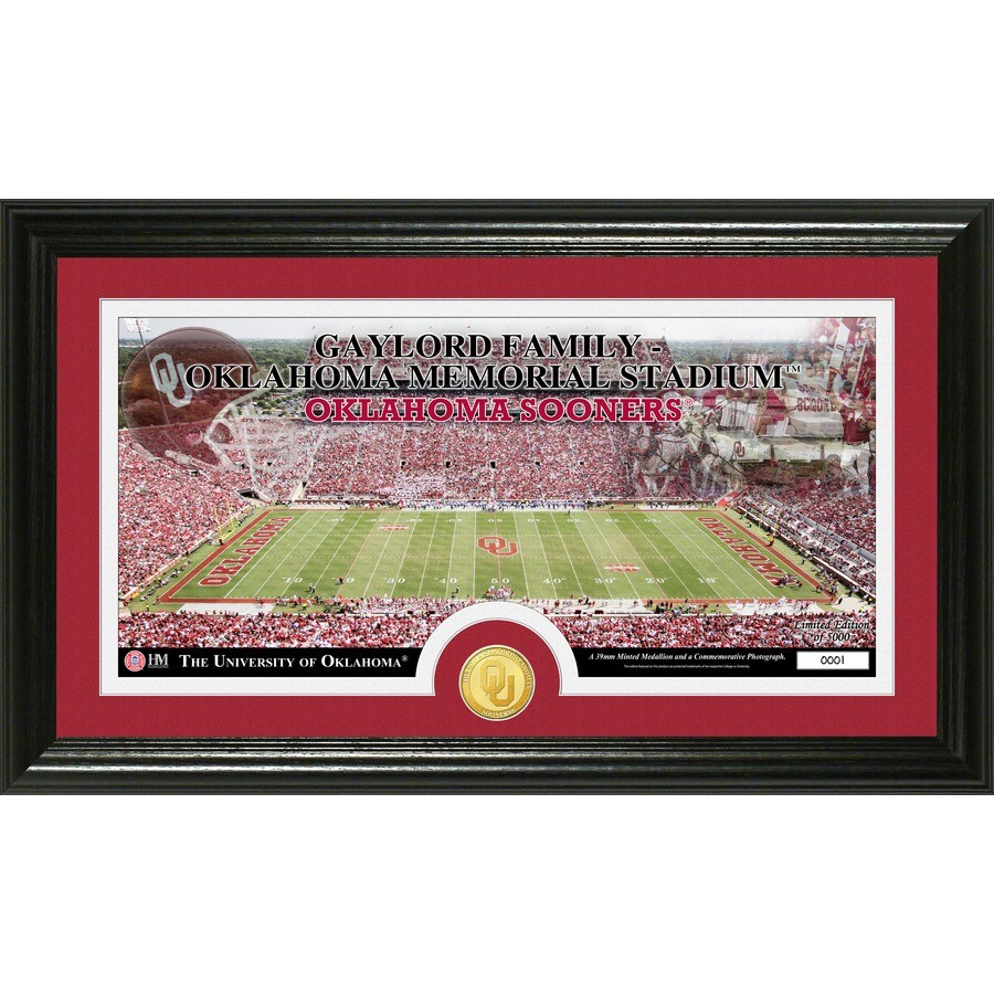 The Highland Mint 20-in W x 12-in H University of Oklahoma Stadium Bronze Coin Panoramic Photo Mint Wall Art