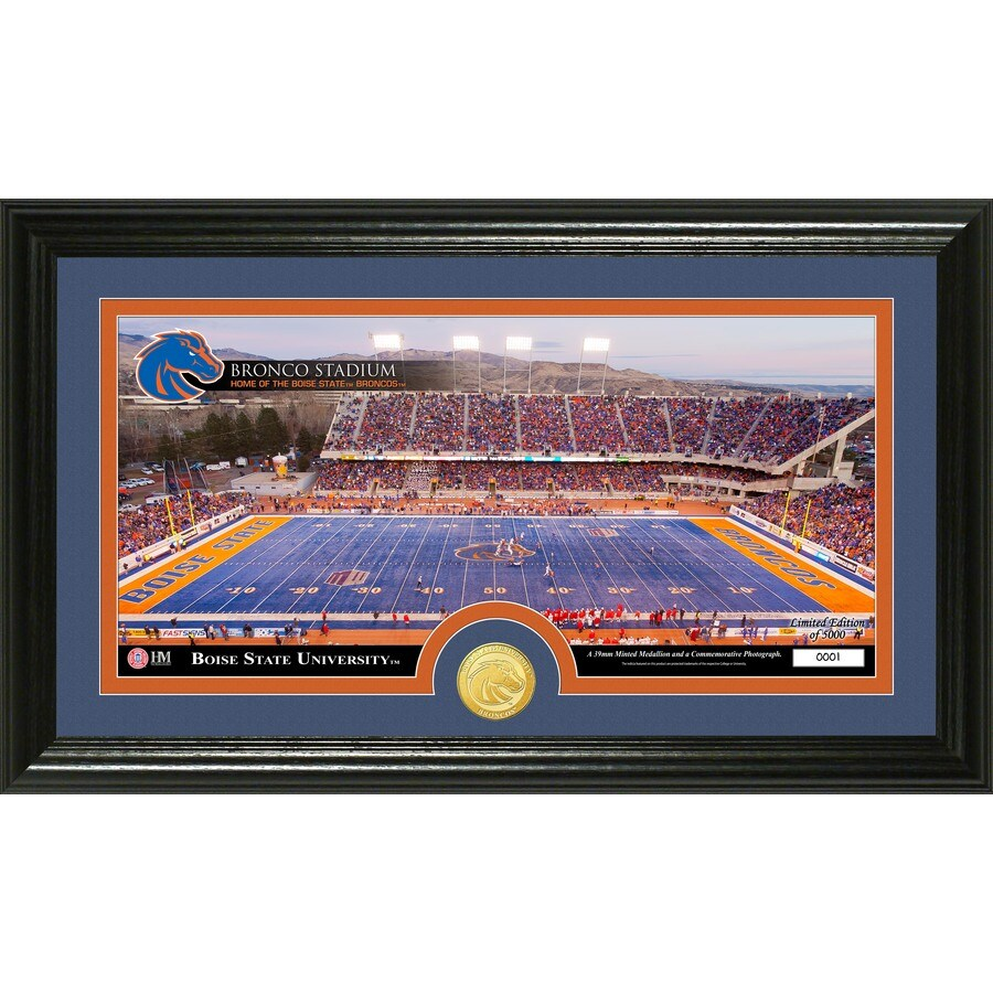 The Highland Mint 20-in W x 12-in H Boise State University Stadium Bronze Coin Panoramic Photo Mint Wall Art