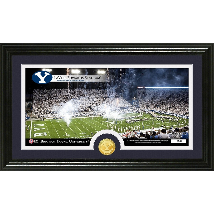 The Highland Mint 20-in W x 12-in H Brigham Young University Stadium Bronze Coin Panoramic Photo Mint Wall Art