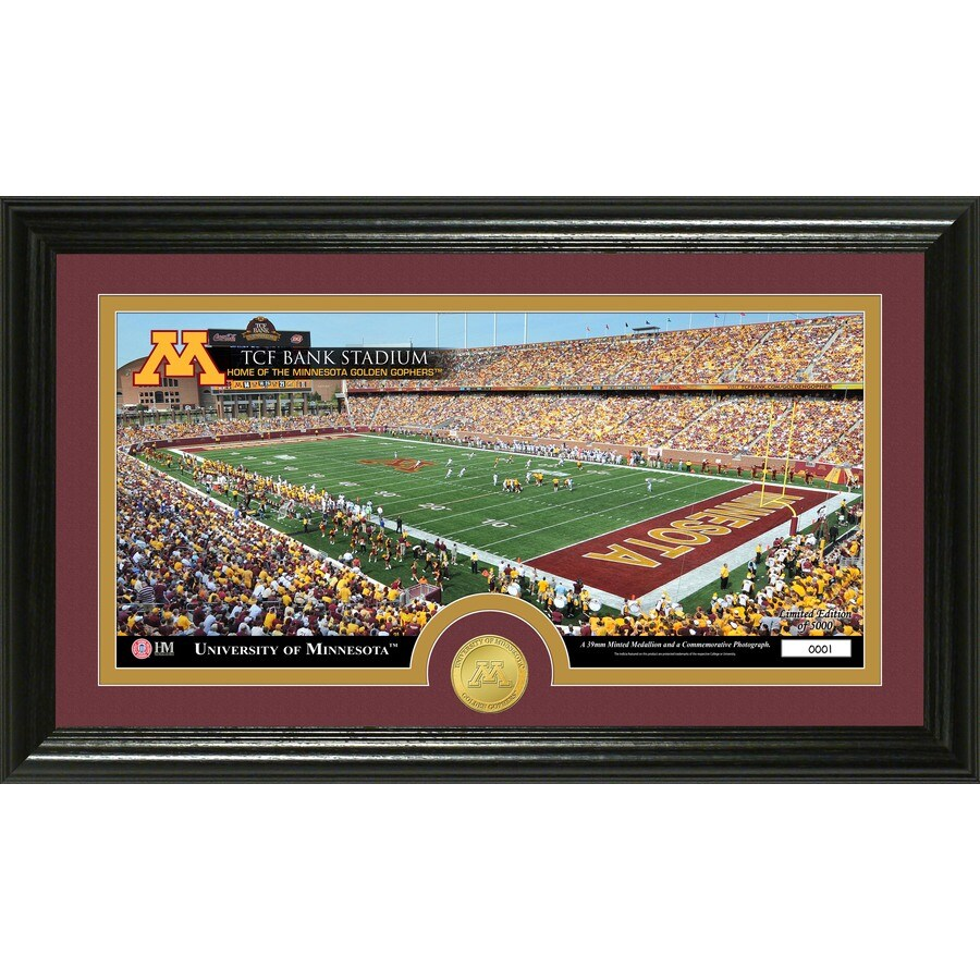 The Highland Mint 20-in W x 12-in H University of Minnesota Stadium Bronze Coin Panoramic Photo Mint Wall Art
