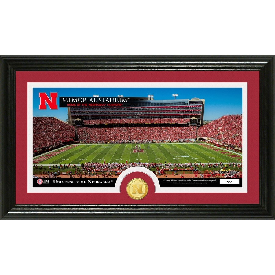 The Highland Mint 20-in W x 12-in H University of Nebraska Stadium Bronze Coin Panoramic Photo Mint Wall Art
