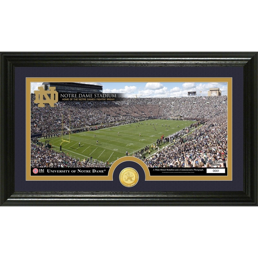 The Highland Mint 20-in W x 12-in H University of Notre Dame Stadium Bronze Coin Panoramic Photo Mint Wall Art