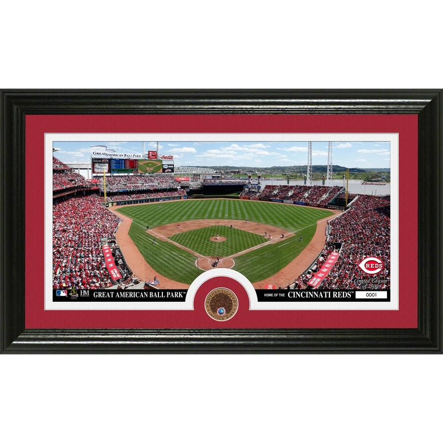The Highland Mint 20-in W x 12-in H Cincinnati Reds Infield Dirt Coin Panoramic Photo Mint Wall Art